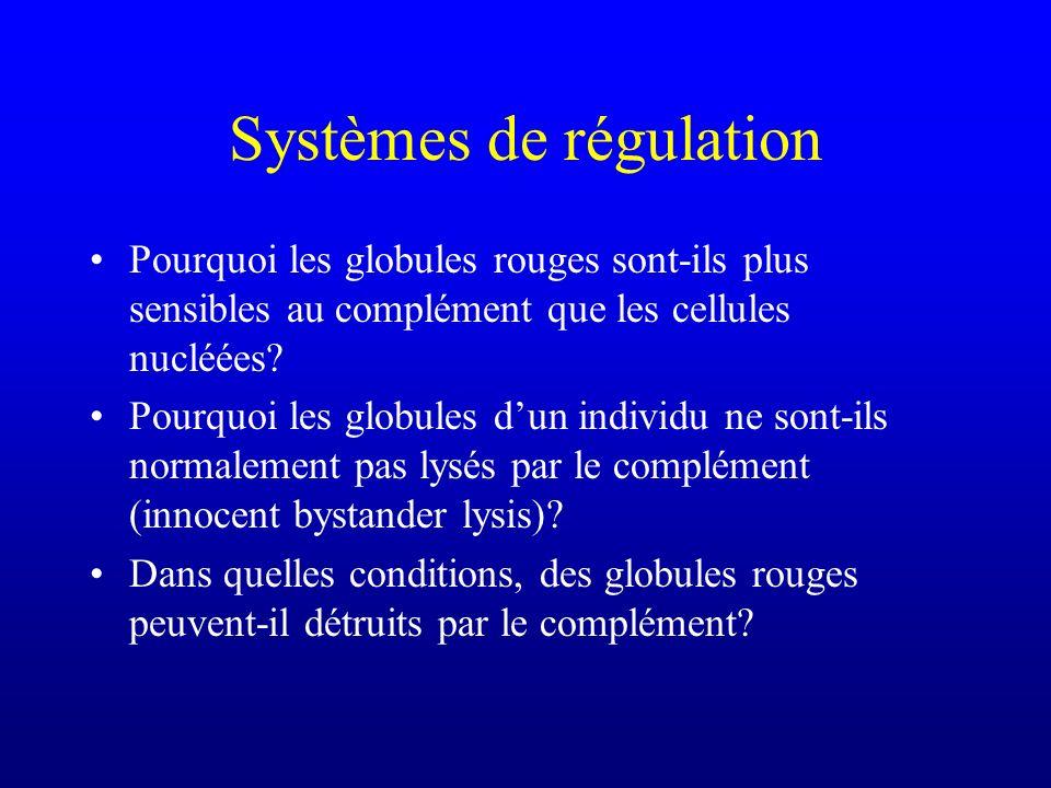 Systèmes de régulation Pourquoi les globules rouges sont-ils plus sensibles au complément que les cellules nucléées? Pourquoi les globules dun individ