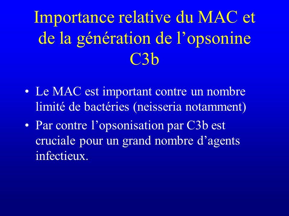 Importance relative du MAC et de la génération de lopsonine C3b Le MAC est important contre un nombre limité de bactéries (neisseria notamment) Par co