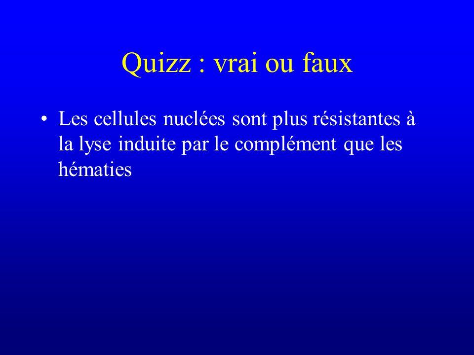 Quizz : vrai ou faux Les cellules nuclées sont plus résistantes à la lyse induite par le complément que les hématies