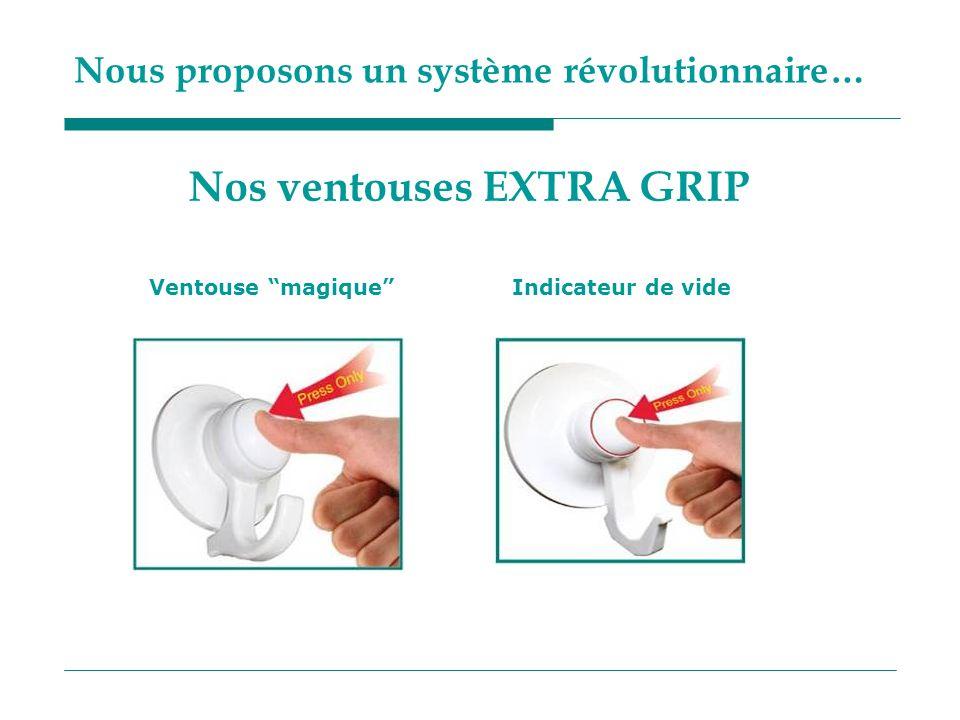 Nous proposons un système révolutionnaire… Ventouse magiqueIndicateur de vide Nos ventouses EXTRA GRIP