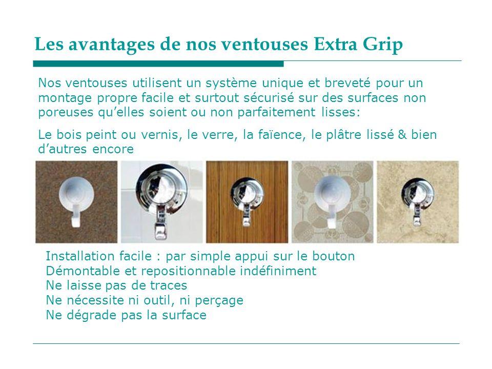 Les avantages de nos ventouses Extra Grip Nos ventouses utilisent un système unique et breveté pour un montage propre facile et surtout sécurisé sur d