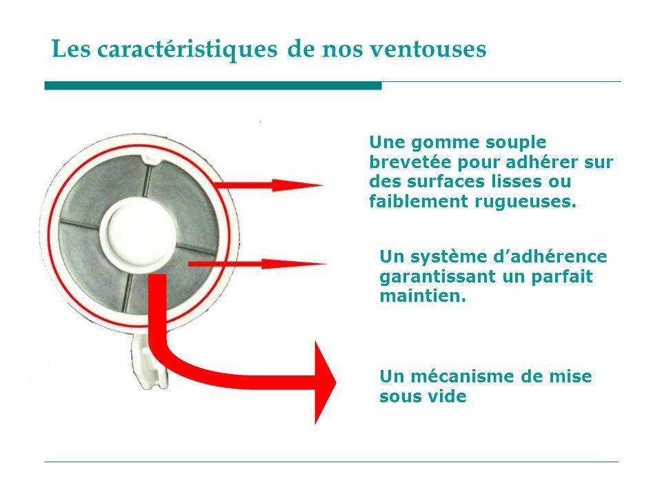 Les caractéristiques de nos ventouses Une gomme souple brevetée pour adhérer sur des surfaces lisses ou faiblement rugueuses. Un système dadhérence ga