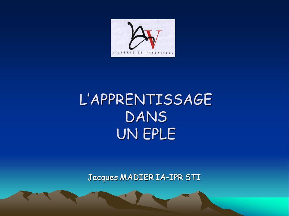LAPPRENTISSAGE DANS UN EPLE Jacques MADIER IA-IPR STI