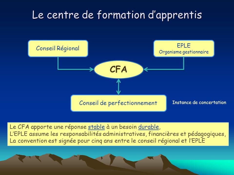 Le centre de formation dapprentis CFA Conseil Régional EPLE Organisme gestionnaire Conseil de perfectionnement Le CFA apporte une réponse stable à un