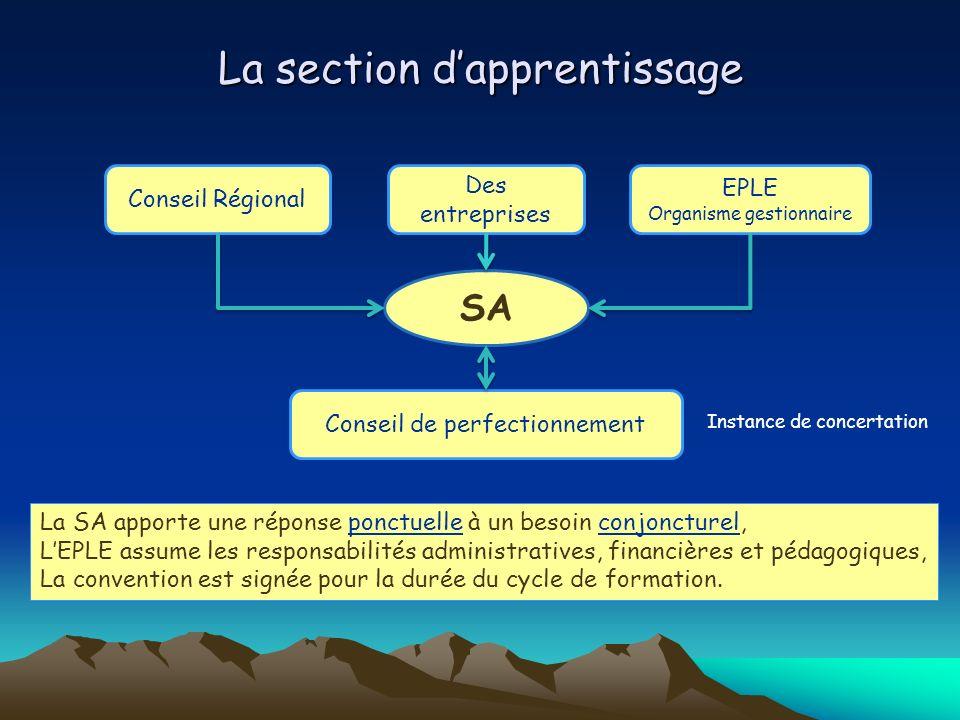 La section dapprentissage SA Conseil Régional EPLE Organisme gestionnaire Conseil de perfectionnement La SA apporte une réponse ponctuelle à un besoin