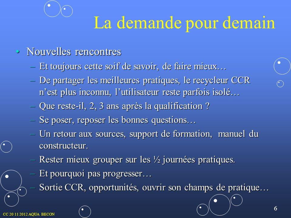 6 CC 20 11 2012 AQUA BECON Nouvelles rencontresNouvelles rencontres –Et toujours cette soif de savoir, de faire mieux… –De partager les meilleures pra