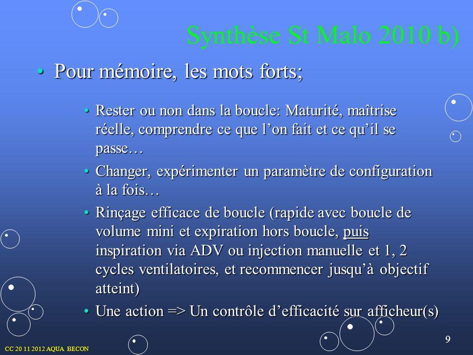 9 CC 20 11 2012 AQUA BECON Synthèse St Malo 2010 b) Pour mémoire, les mots forts;Pour mémoire, les mots forts; Rester ou non dans la boucle: Maturité,