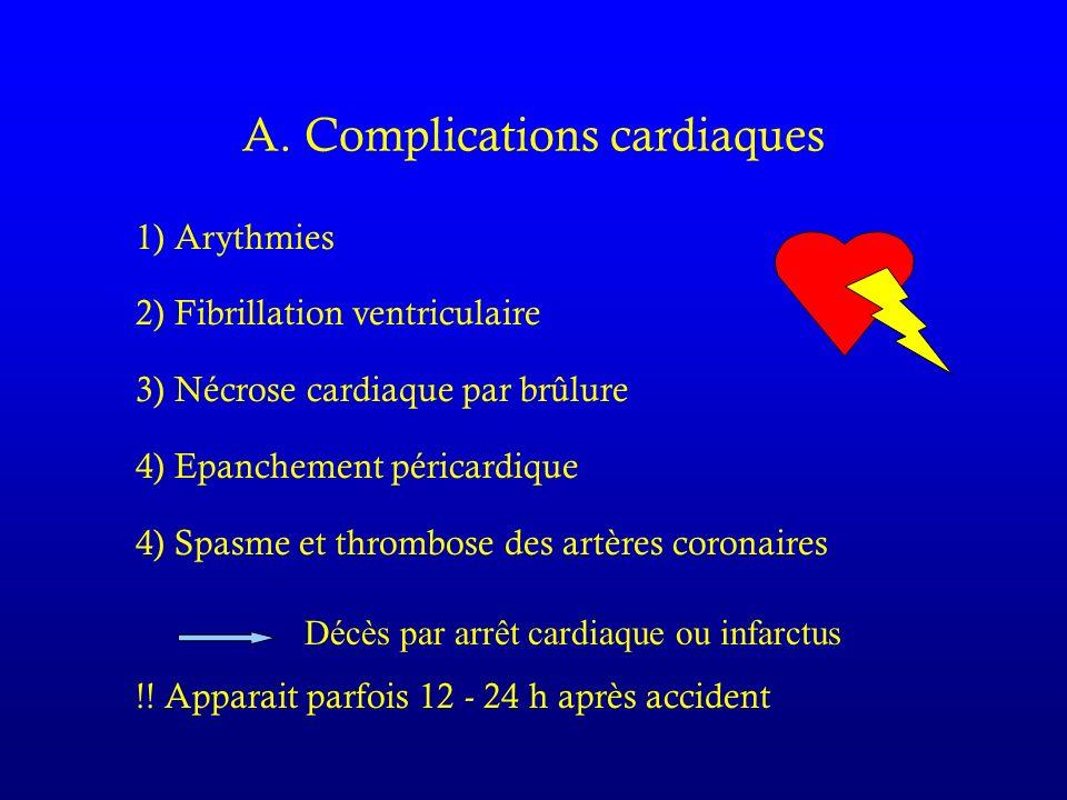 A. Complications cardiaques 1) Arythmies 2) Fibrillation ventriculaire 3) Nécrose cardiaque par brûlure 4) Epanchement péricardique 4) Spasme et throm