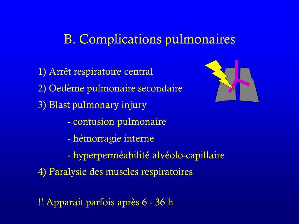 B. Complications pulmonaires 1) Arrêt respiratoire central 2) Oedème pulmonaire secondaire 3) Blast pulmonary injury - contusion pulmonaire - hémorrag
