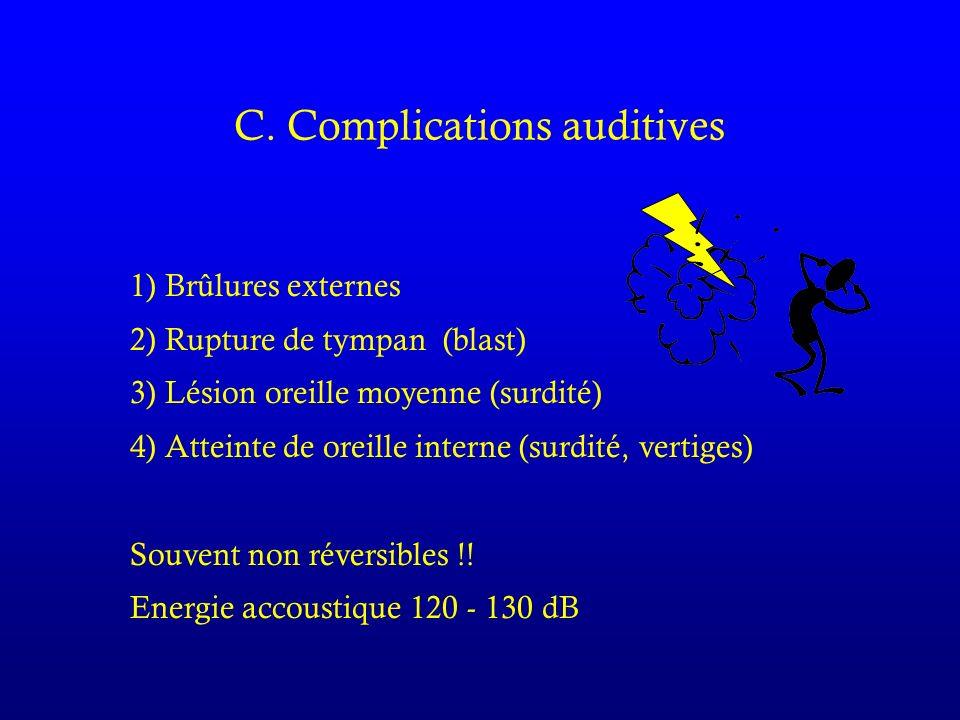 C. Complications auditives 1) Brûlures externes 2) Rupture de tympan (blast) 3) Lésion oreille moyenne (surdité) 4) Atteinte de oreille interne (surdi