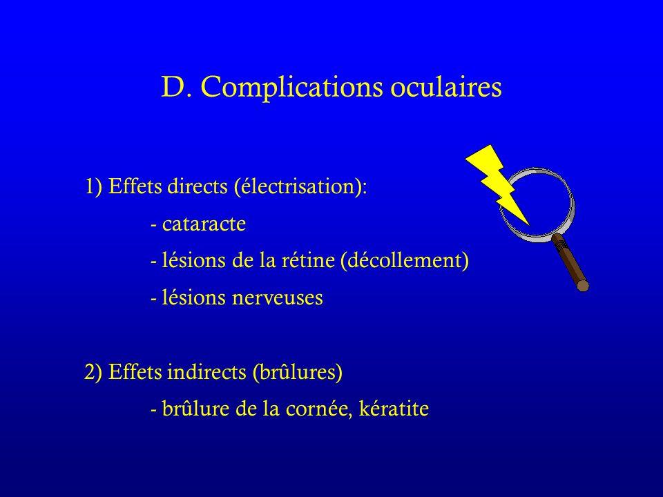 D. Complications oculaires 1) Effets directs (électrisation): - cataracte - lésions de la rétine (décollement) - lésions nerveuses 2) Effets indirects
