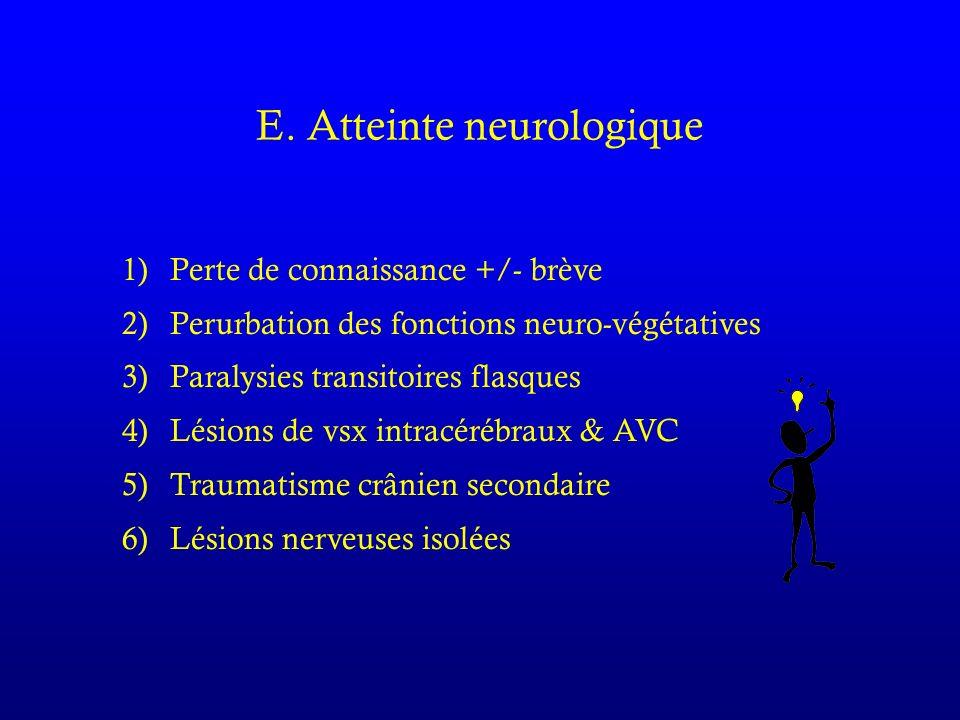 E. Atteinte neurologique 1)Perte de connaissance +/- brève 2)Perurbation des fonctions neuro-végétatives 3) Paralysies transitoires flasques 4) Lésion