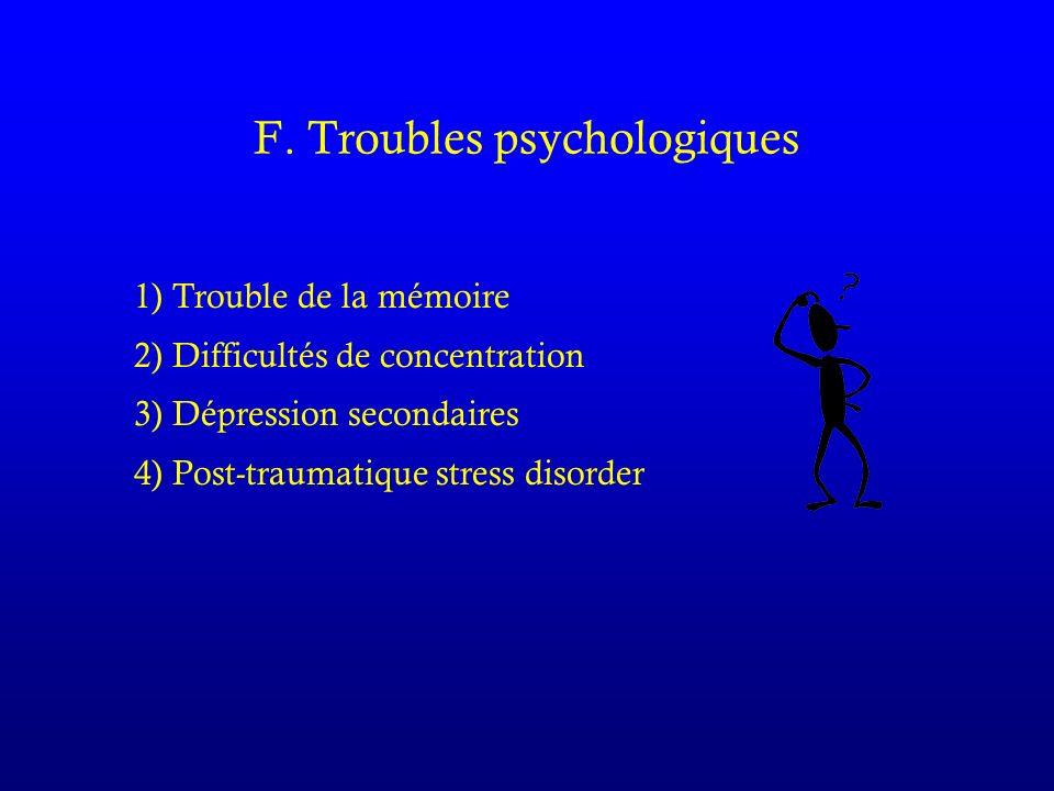 F. Troubles psychologiques 1) Trouble de la mémoire 2) Difficultés de concentration 3) Dépression secondaires 4) Post-traumatique stress disorder