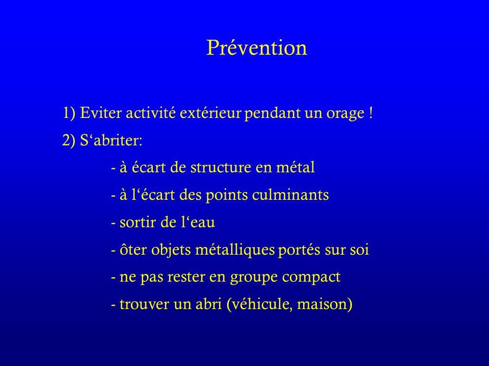 Prévention 1) Eviter activité extérieur pendant un orage ! 2) Sabriter: - à écart de structure en métal - à lécart des points culminants - sortir de l