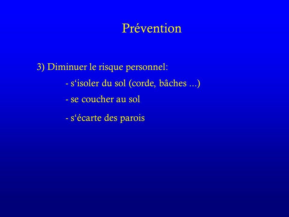 Prévention 3) Diminuer le risque personnel: - sisoler du sol (corde, bâches...) - se coucher au sol - sécarte des parois