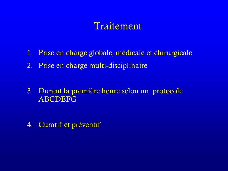 Traitement 1.Prise en charge globale, médicale et chirurgicale 2.Prise en charge multi-disciplinaire 3.Durant la première heure selon un protocole ABCDEFG 4.