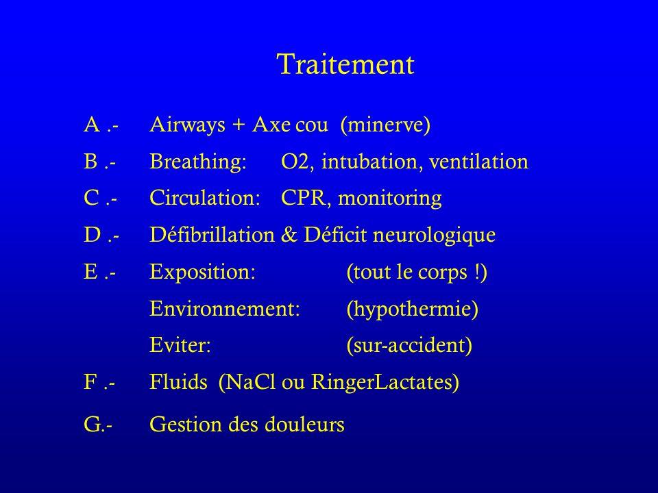 Traitement A.- Airways + Axe cou (minerve) B.- Breathing: O2, intubation, ventilation C.- Circulation: CPR, monitoring D.- Défibrillation & Déficit neurologique E.-Exposition: (tout le corps !) Environnement: (hypothermie) Eviter:(sur-accident) F.- Fluids (NaCl ou RingerLactates) G.- Gestion des douleurs