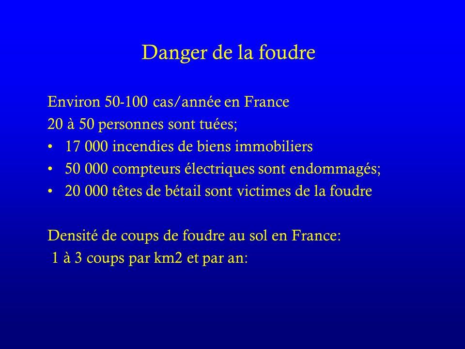 Environ 50-100 cas/année en France 20 à 50 personnes sont tuées; 17 000 incendies de biens immobiliers 50 000 compteurs électriques sont endommagés; 20 000 têtes de bétail sont victimes de la foudre Densité de coups de foudre au sol en France: 1 à 3 coups par km2 et par an: Danger de la foudre
