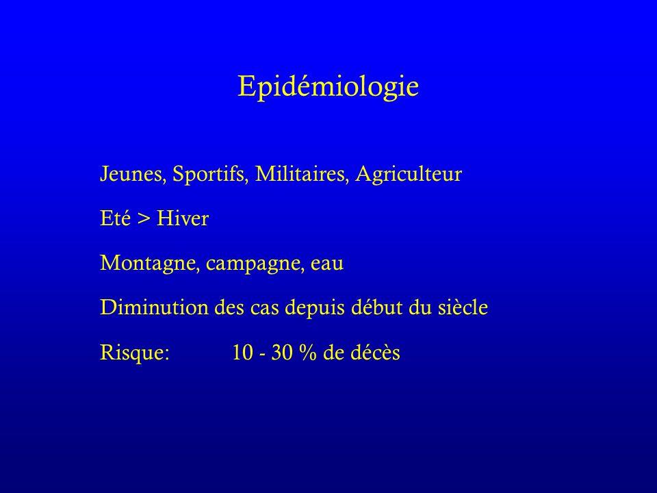 Epidémiologie Jeunes, Sportifs, Militaires, Agriculteur Eté > Hiver Montagne, campagne, eau Diminution des cas depuis début du siècle Risque:10 - 30 % de décès