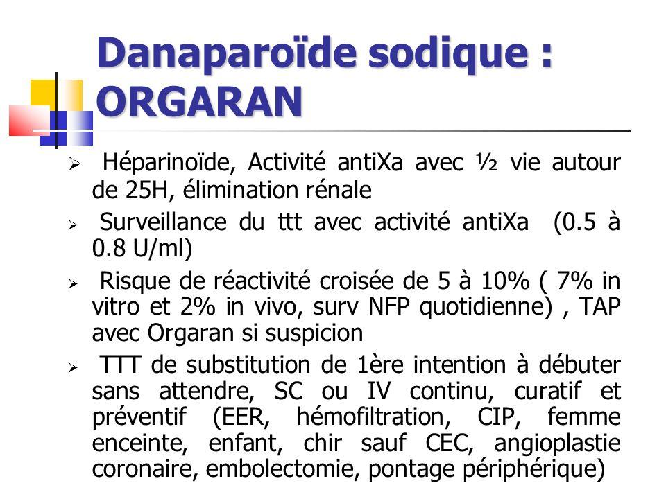 Danaparoïde sodique : ORGARAN Héparinoïde, Activité antiXa avec ½ vie autour de 25H, élimination rénale Surveillance du ttt avec activité antiXa (0.5