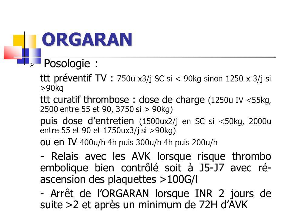 ORGARAN Posologie : ttt préventif TV : 750u x3/j SC si 90kg ttt curatif thrombose : dose de charge (1250u IV 90kg) puis dose dentretien (1500ux2/j en