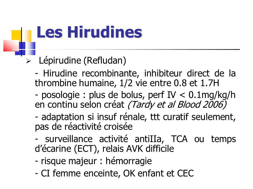 Les Hirudines Lépirudine (Refludan) - Hirudine recombinante, inhibiteur direct de la thrombine humaine, 1/2 vie entre 0.8 et 1.7H - posologie : plus d