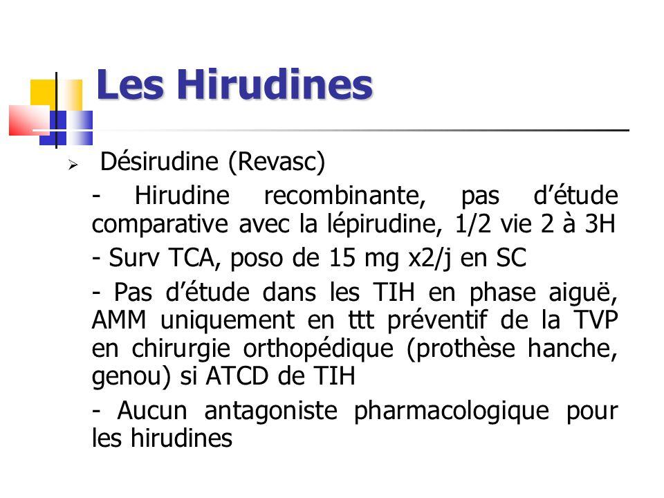 Les Hirudines Désirudine (Revasc) - Hirudine recombinante, pas détude comparative avec la lépirudine, 1/2 vie 2 à 3H - Surv TCA, poso de 15 mg x2/j en