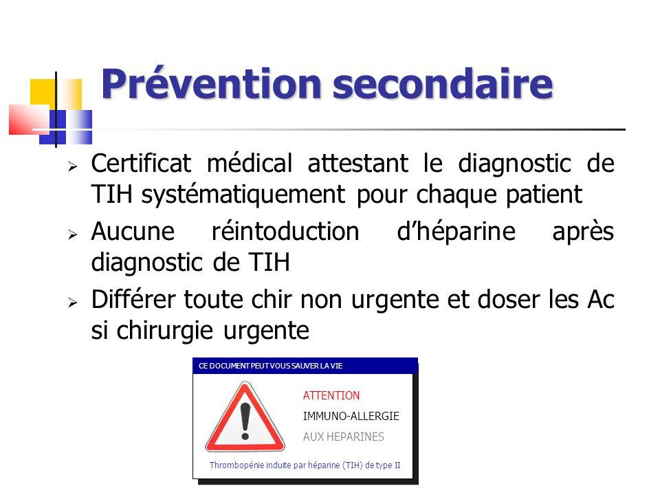 Prévention secondaire Certificat médical attestant le diagnostic de TIH systématiquement pour chaque patient Aucune réintoduction dhéparine après diag
