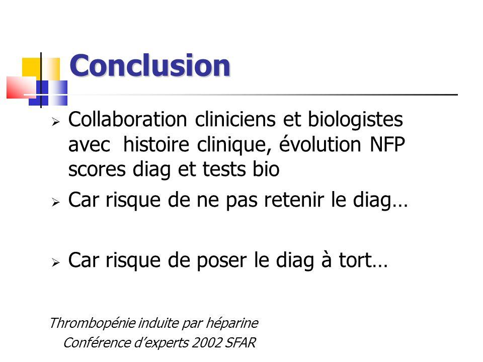 Conclusion Collaboration cliniciens et biologistes avec histoire clinique, évolution NFP scores diag et tests bio Car risque de ne pas retenir le diag
