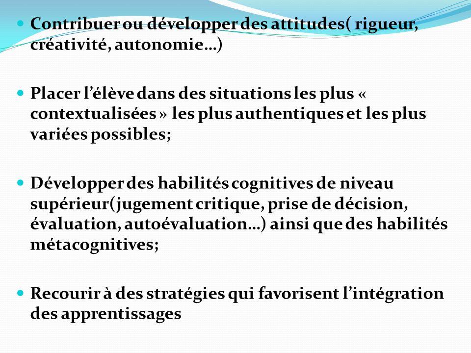 Contribuer ou développer des attitudes( rigueur, créativité, autonomie…) Placer lélève dans des situations les plus « contextualisées » les plus authe
