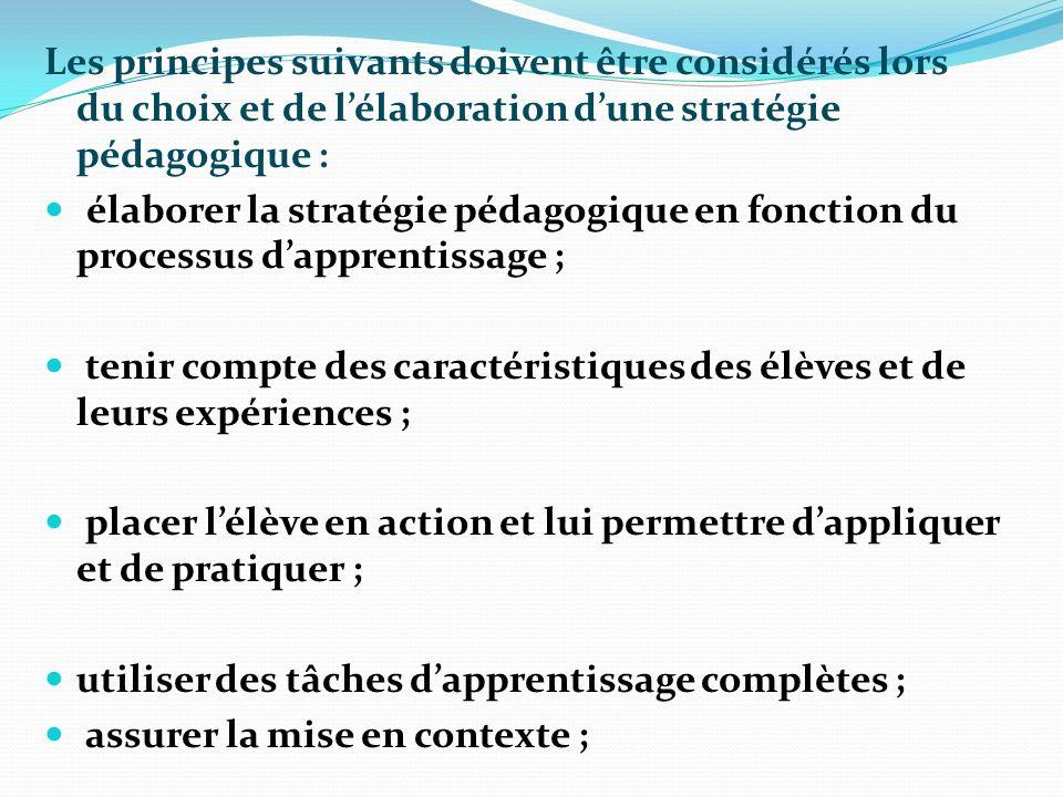 Les principes suivants doivent être considérés lors du choix et de lélaboration dune stratégie pédagogique : élaborer la stratégie pédagogique en fonc