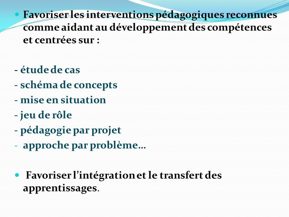 Favoriser les interventions pédagogiques reconnues comme aidant au développement des compétences et centrées sur : - étude de cas - schéma de concepts