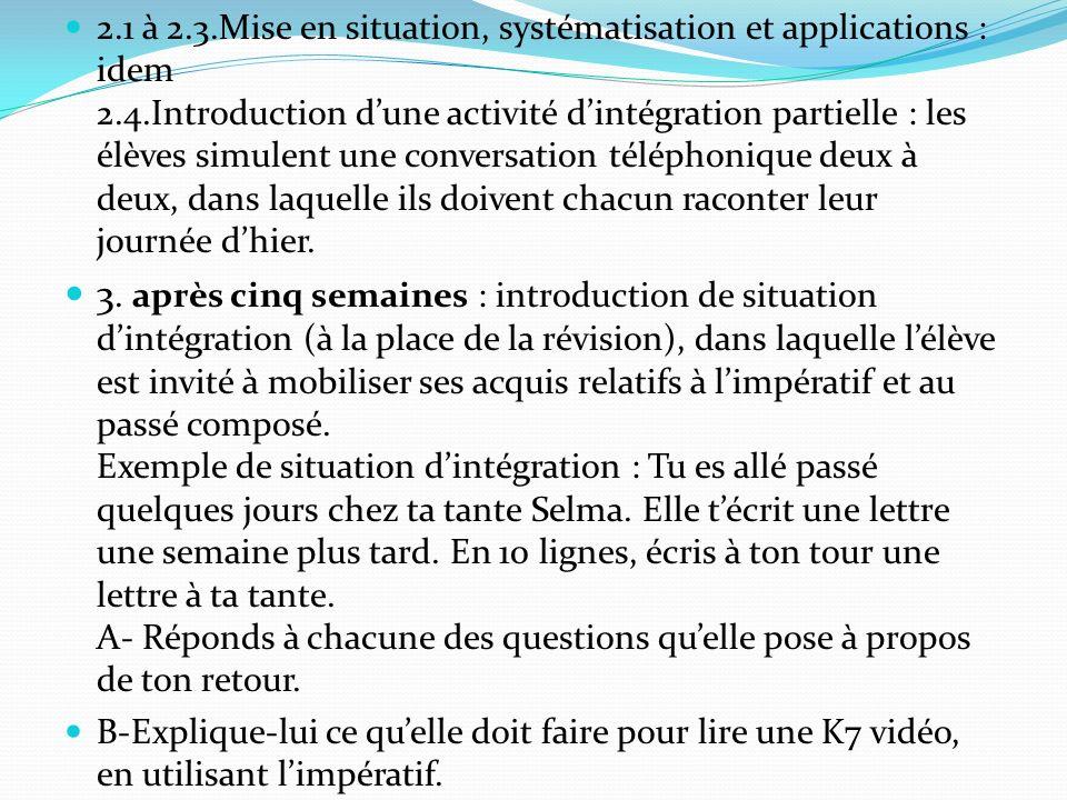 2.1 à 2.3.Mise en situation, systématisation et applications : idem 2.4.Introduction dune activité dintégration partielle : les élèves simulent une co