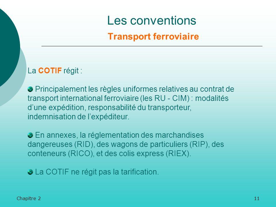 Chapitre 210 La COTIF (Convention relative aux Transports Internationaux Ferroviaires) est la convention qui régit les transports ferroviaires interna