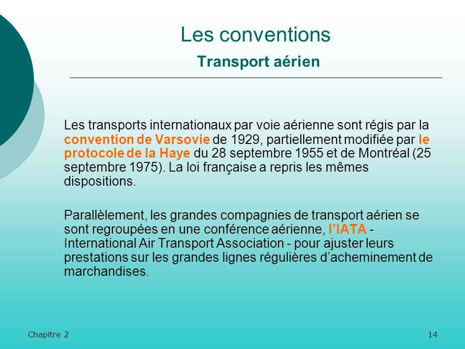 Chapitre 213 Les transports par voie maritime sont encadrés par la convention de Bruxelles du 25 août 1924, ratifiée par 78 Etats, et élargie par deux