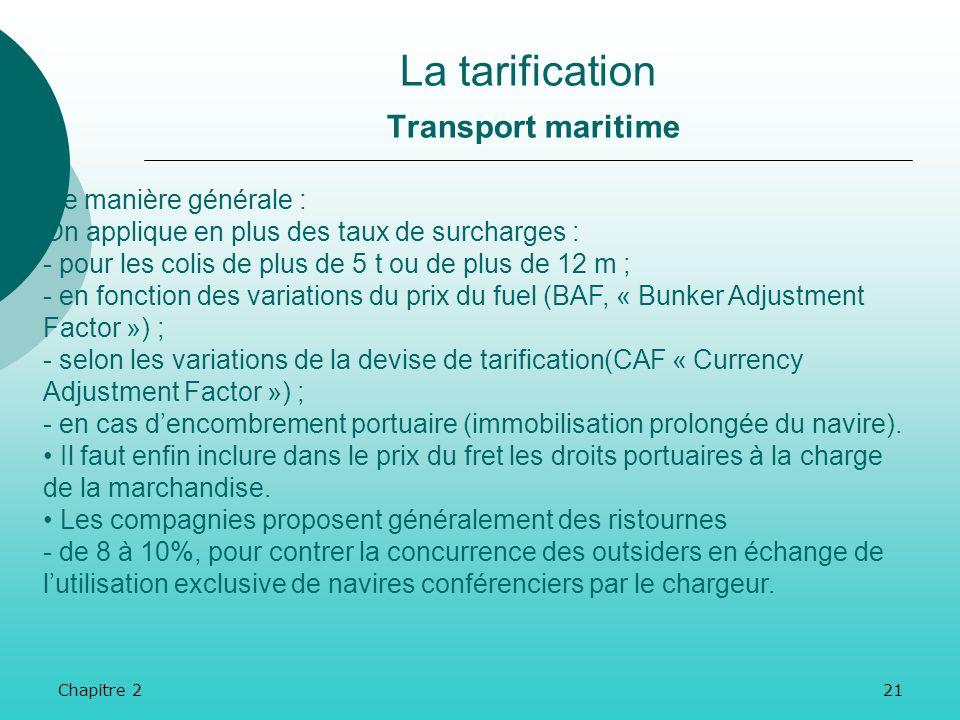 Chapitre 220 La tarification Transport maritime Chaque conférence maritime établit elle-même ses propres prix. Il y a donc autant de modes de tarifica