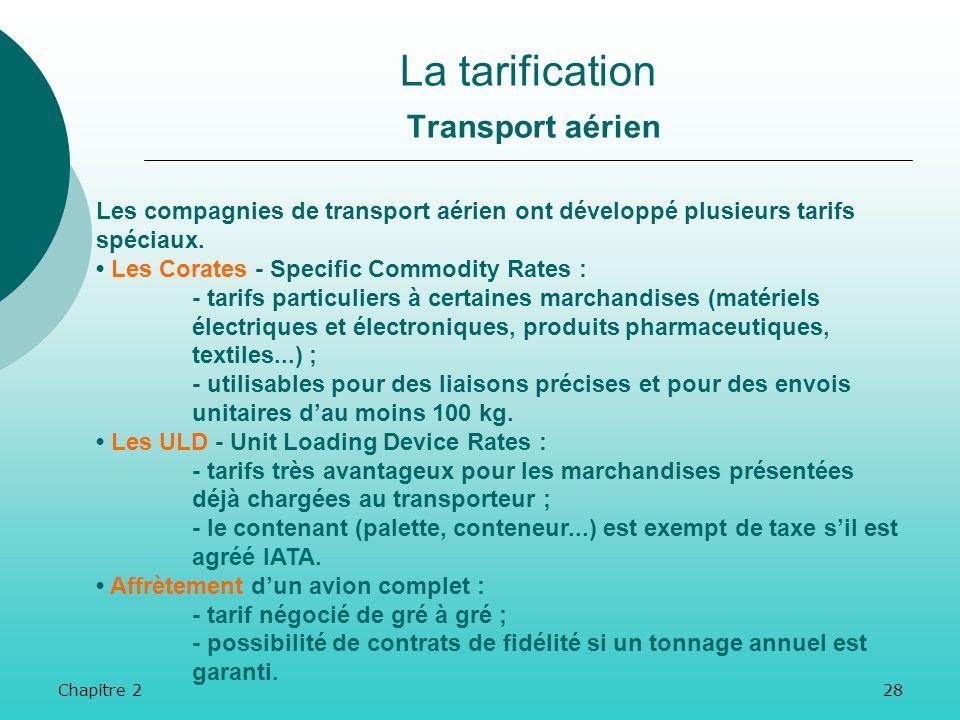 Chapitre 227 La tarification Transport aérien Le tarif général est fonction du poids de la marchandise (et non de sa nature). On prend en général pour
