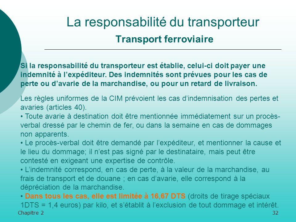 Chapitre 231 La responsabilité du transporteur Transport ferroviaire Néanmoins, le transporteur peut être exonéré de sa responsabilité (convention) :