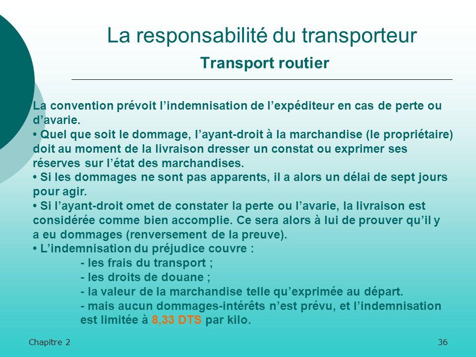 Chapitre 235 La responsabilité du transporteur Transport routier En outre, la CMR prévoit des motifs dexonérations au principe, si le transporteur a :