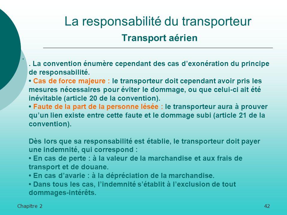 Chapitre 241 La responsabilité du transporteur Transport aérien. La responsabilité du transporteur joue depuis la prise en charge de la marchandise ju