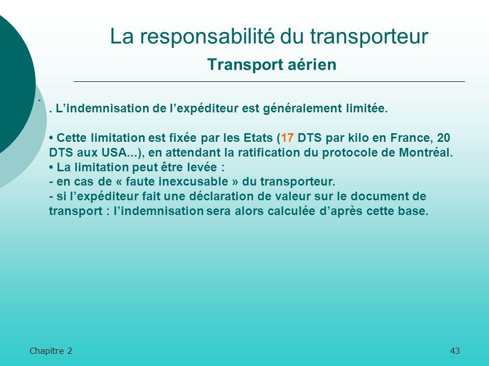 Chapitre 242 La responsabilité du transporteur Transport aérien.. La convention énumère cependant des cas dexonération du principe de responsabilité.