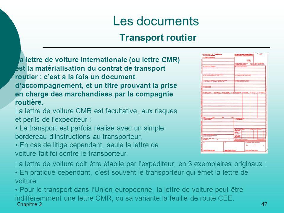 Chapitre 246 Les documents Transport ferroviaire.La lettre de voiture internationale de chemin de fer est à établir en 5 exemplaires, par lexpéditeur