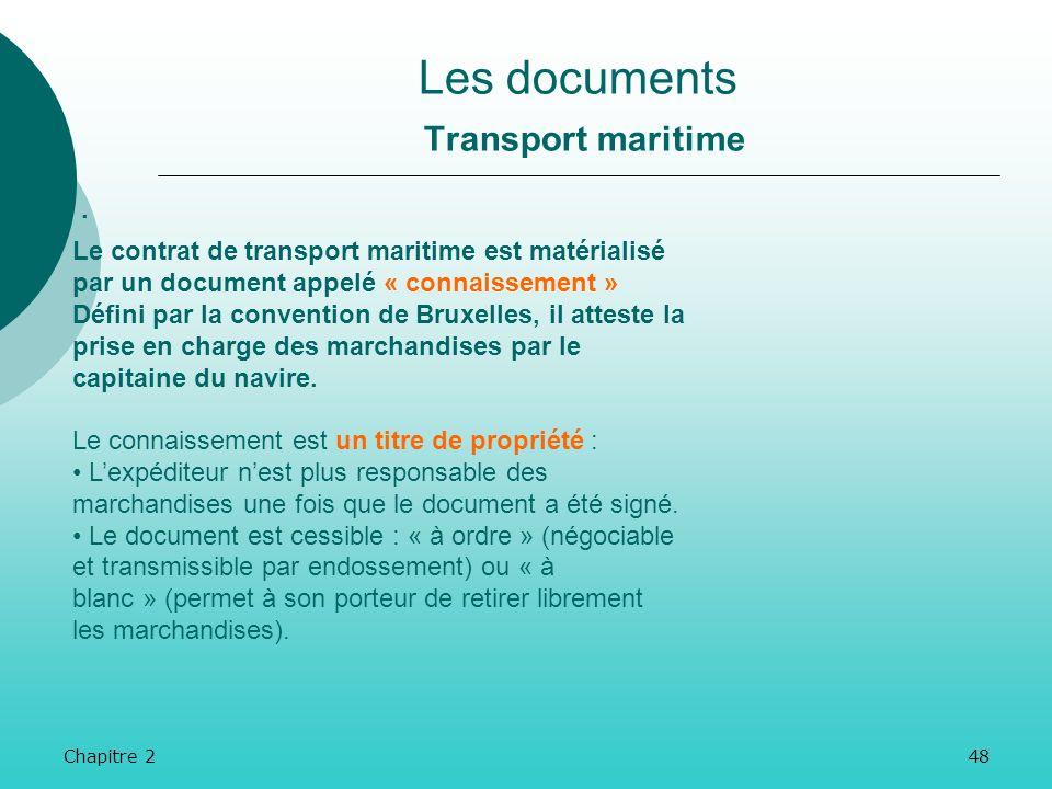 Chapitre 247 Les documents Transport routier. La lettre de voiture internationale (ou lettre CMR) est la matérialisation du contrat de transport routi