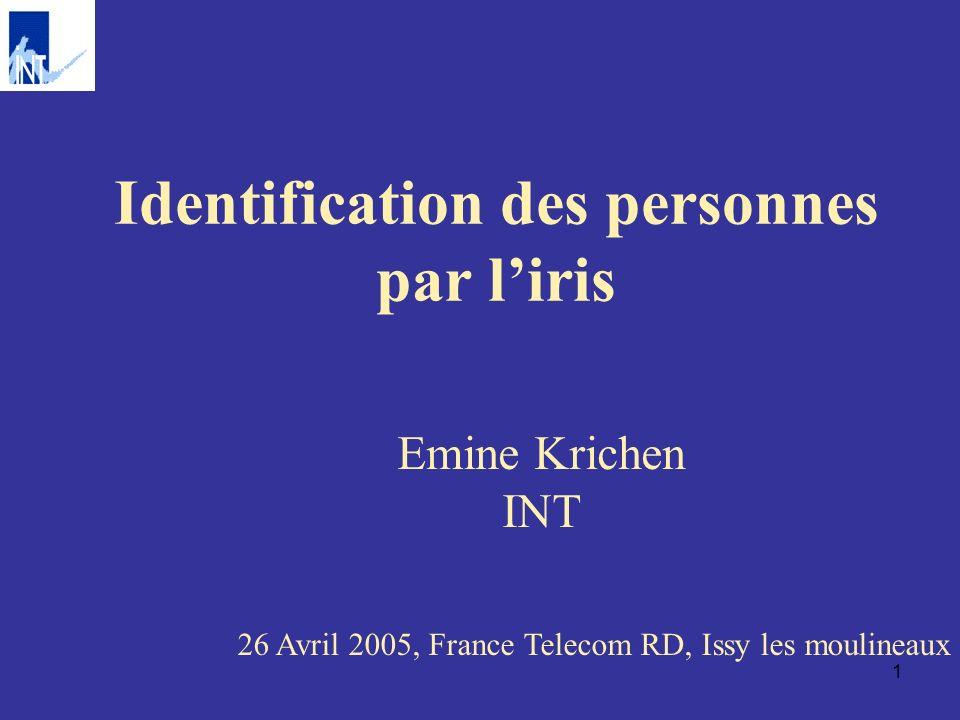 2 Processus de la reconnaissance par liris Segmentation de liris Normalisation, prétraitement, rehaussement Codage/Extraction des paramètres Prise de décision