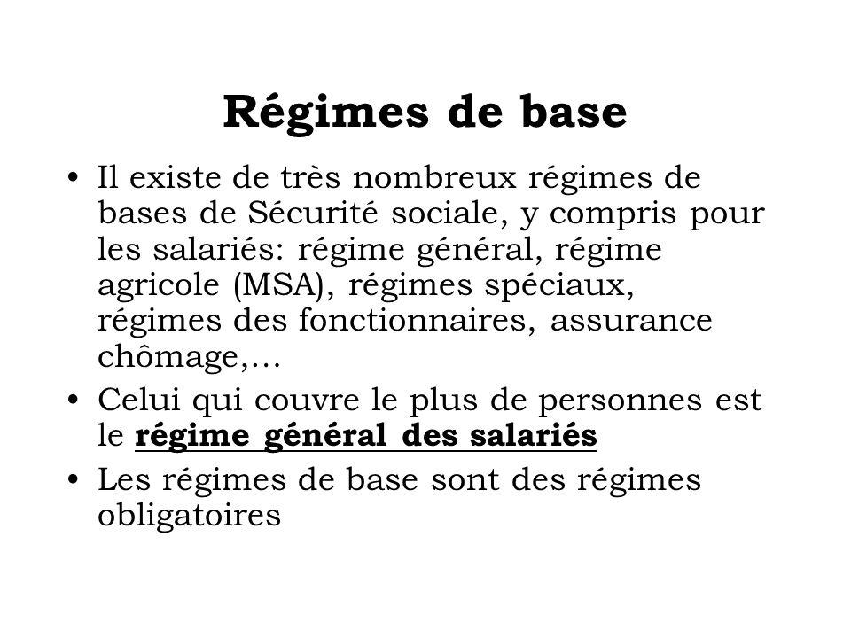 Régimes de base Il existe de très nombreux régimes de bases de Sécurité sociale, y compris pour les salariés: régime général, régime agricole (MSA), r