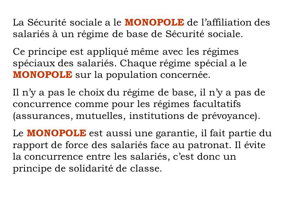 La Sécurité sociale a le MONOPOLE de laffiliation des salariés à un régime de base de Sécurité sociale. Ce principe est appliqué même avec les régimes