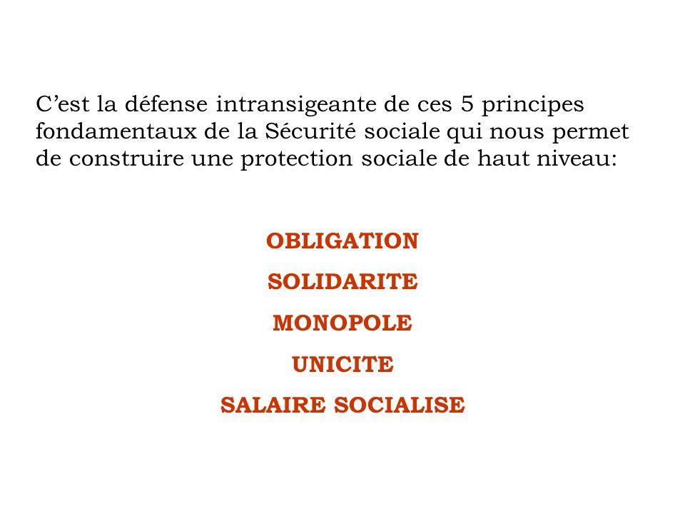 Cest la défense intransigeante de ces 5 principes fondamentaux de la Sécurité sociale qui nous permet de construire une protection sociale de haut niv