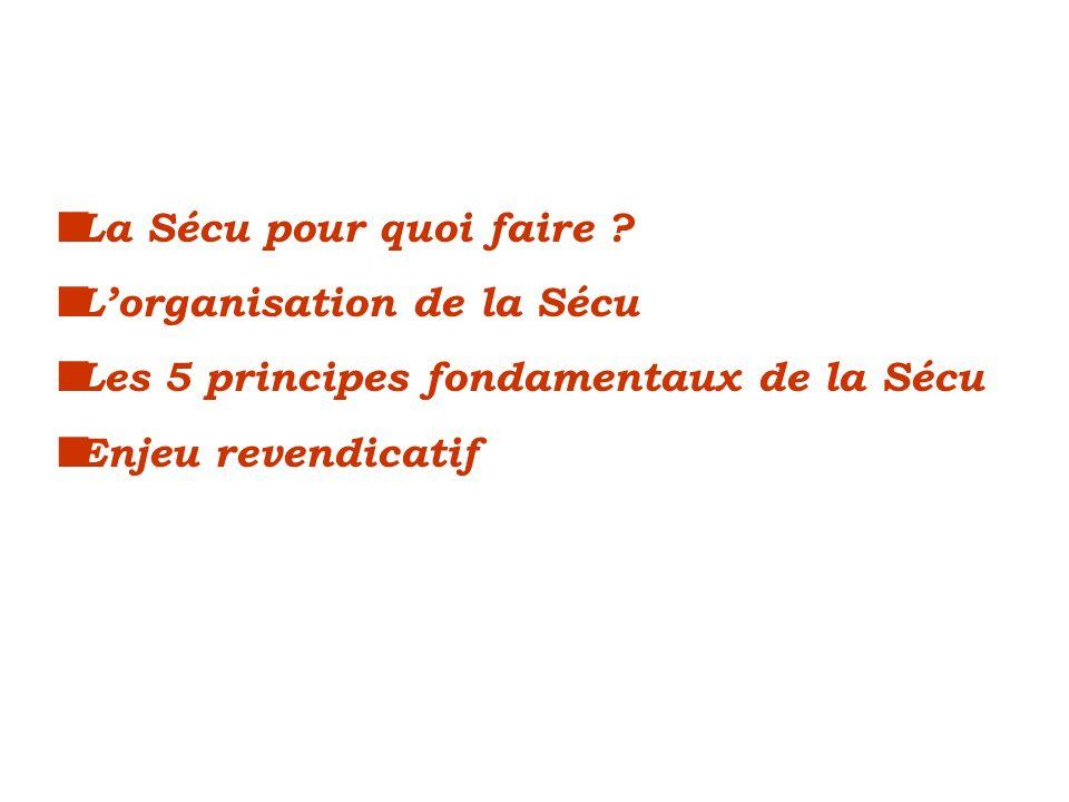 La Sécu pour quoi faire ? Lorganisation de la Sécu Les 5 principes fondamentaux de la Sécu Enjeu revendicatif