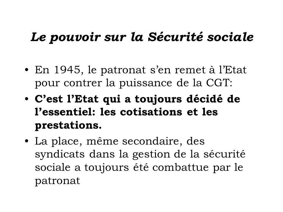 Le pouvoir sur la Sécurité sociale En 1945, le patronat sen remet à lEtat pour contrer la puissance de la CGT: Cest lEtat qui a toujours décidé de lessentiel: les cotisations et les prestations.