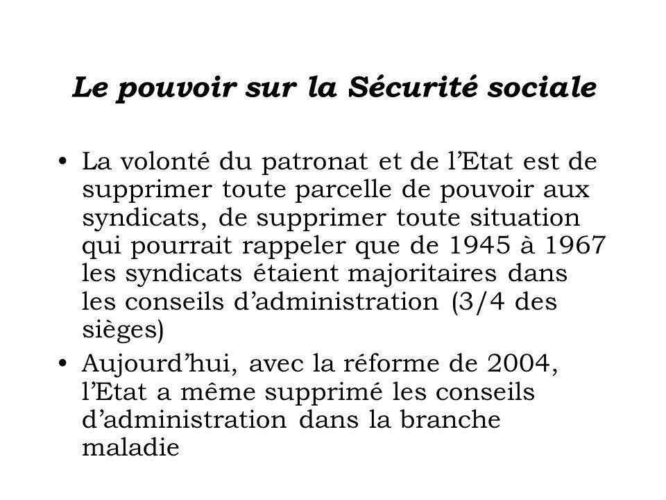 Le pouvoir sur la Sécurité sociale La volonté du patronat et de lEtat est de supprimer toute parcelle de pouvoir aux syndicats, de supprimer toute sit